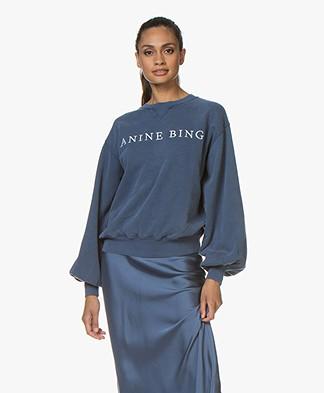 ANINE BING Esme Logo Sweatshirt - Navy