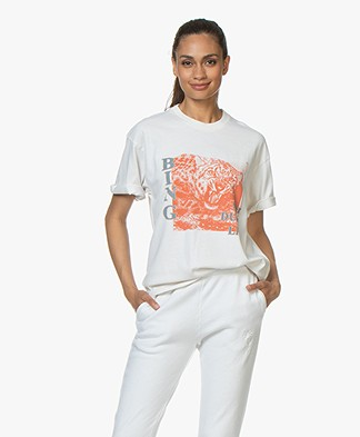 ANINE BING Georgie Panther Dust T-shirt - Cream