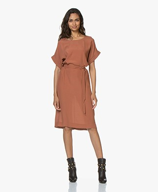 BY-BAR Jet Viscose Crepe Dress - Terracotta