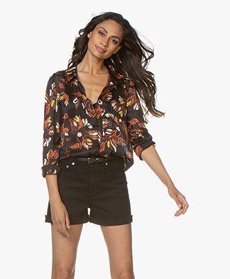 ba&sh Ava Burn-out Bloemenprint Blouse - Zwart