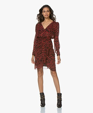 ba&sh Saphir Viscose Chiffon Printed Dress - Crimson