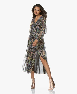 IRO Ramona Printed Chiffon Maxi Dress - Black