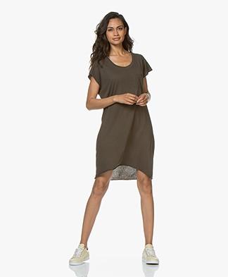 LDB Design By... Katoenen T-shirt Jurk - Kaki