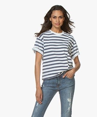 ANINE BING Ringo Gestreept T-shirt - Navy/Wit