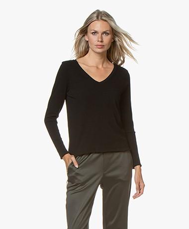 American Vintage Sonoma Slub V-neck Long Sleeve - Black