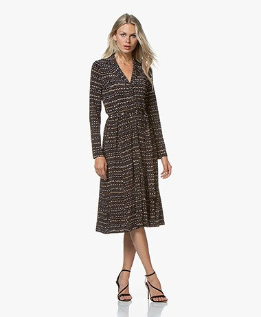 SIYU Mali Tech Jersey Print Midi Dress - Brown/Black