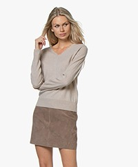 no man's land V-neck Sweater with Fringes - Oak