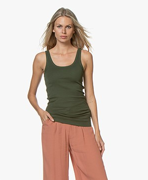 By Malene Birger Ribbed Tank Top Newdawn - Tent Green
