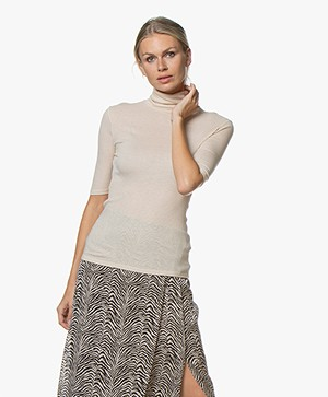 Majestic Filatures Lurex Turtleneck T-shirt with Half-length Sleeves - Golden Sand