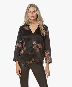 Pomandère Silk Print Blouse - Black