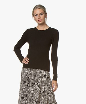 Repeat Rib Knitted Crew Neck Sweater - Black
