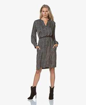 Repeat Silk Printed Dress - Zebra Print Mud