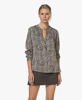 Repeat Silk Print Blouse - Zebra Print Sand