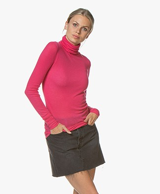 Closed Rib Jersey Colshirt in Lyocell en Wol - Hibiscus