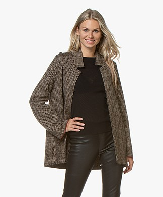 LaSalle Jacquard Blazer Cardigan - Beige/Black