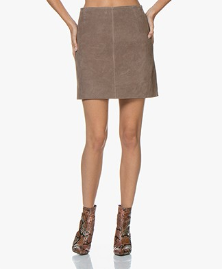 no man's land Suede Leather Mini Skirt - Mushroom