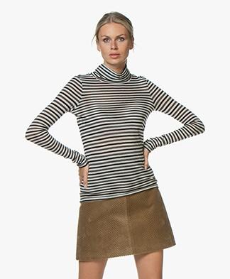 Pomandère Striped Wool Blend Turtleneck T-Shirt - Black/Grey/Off-white