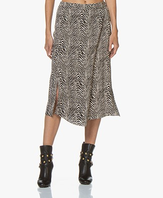 Repeat Silk Printed Midi Skirt - Zebra Print Sand