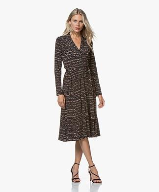 SIYU Mali Tech Jersey Print Midi Dress - Brown/Black