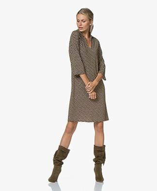 SIYU Salina Tech Jersey Print Dress - Camel/Black/Off-white