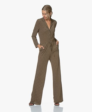 SIYU Salina Tech Jersey Print Jumpsuit - Khaki/Off-white/Black