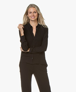 Majestic Filatures Viscose Jersey Blouse - Black