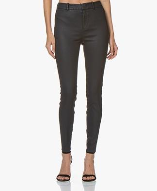 Drykorn Winch Skinny Pantalon met Coating - Donkerblauw