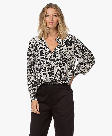 ba&sh Opus Two-tone Animal Print Blouse - Off-white/Black
