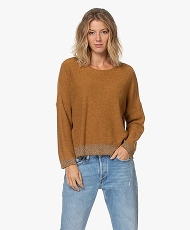 indi & cold Knitted Sweater with Lurex - Mostaza