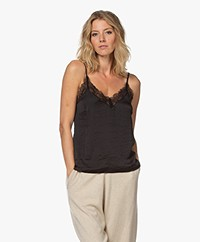 Love Stories Camelia Crush Satijnen Camisole - Zwart