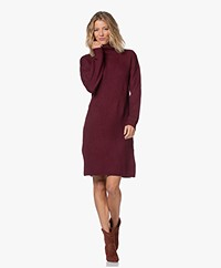 Repeat Knitted Turtleneck Dress in Merino Wool - Wine