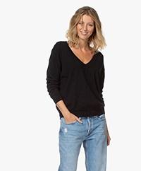 no man's land Lurex Wool Blend V-neck Sweater - Black