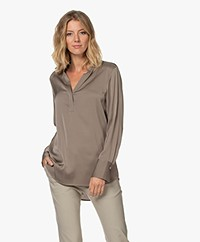Filippa K Pull-on Silk Blouse - Grey Taupe