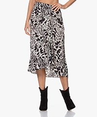 ba&sh Opera Two-tone Animal Print Midi Skirt - Off-white/Black