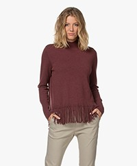 Repeat Wool and Cashmere Fringe Sweater - Burgundy