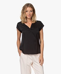 Repeat Silk Cap Sleeve Blouse - Black