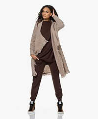 no man's land Mohair Blend Open Fringed Cardigan - Oatmeal