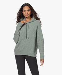 no man's land Mohair Blend Hooded Sweater - Soft Jade