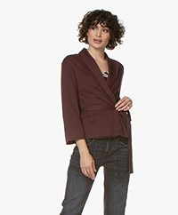 Majestic Filatures Double-faced Jersey Wrap Cardigan - Aubergine/Anthracite