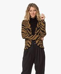 Kyra & Ko Misty Knitted Zebra Jacquard Blazer - Dark Olive