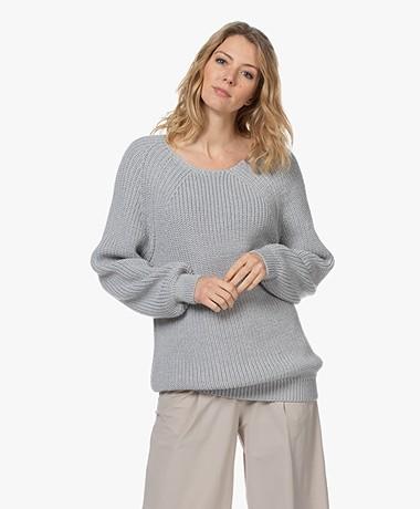 Sibin/Linnebjerg Fanny Fisherman Sweater - Grey Melange