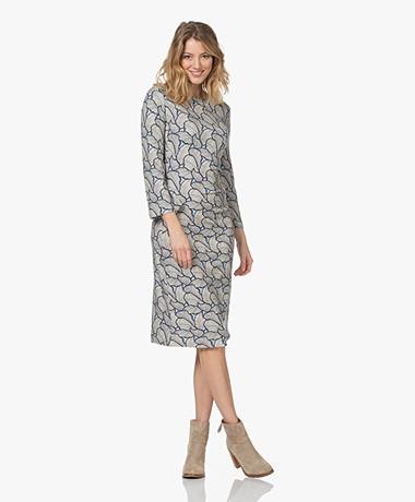 Kyra & Ko Miep Viscose Jersey Print Dress - Sky Blue