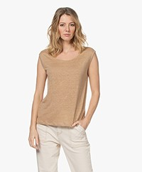 Josephine & Co Lani Sleeveless Linen Jersey Top - Mocca
