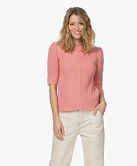 Repeat Cotton Sweater with Elbow-length Sleeves - Watermelon