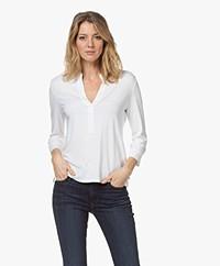 Majestic Filatures Split Neck Jersey Blouse - White