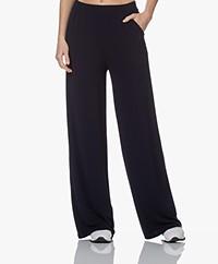 LaSalle Wide Crepe Jersey Pants - Navy