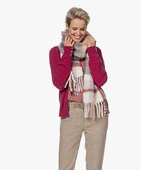 IRO Auray Alpacamix Sjaal met Ruitdessin - Rood/Koraal