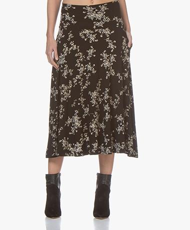 Norma Kamali Flared Tech Jersey Skirt - Delicate Flowers
