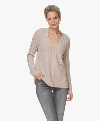 Repeat Luxury Cashmere Rib Trui - Beige