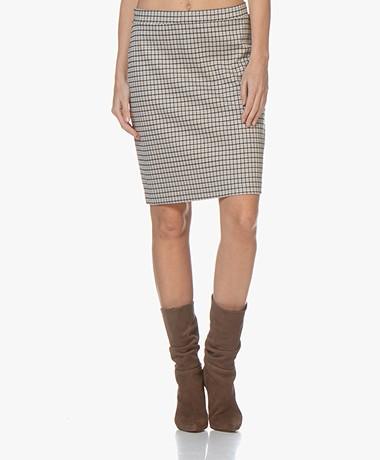 no man's land Checkered Jersey Skirt - Oak